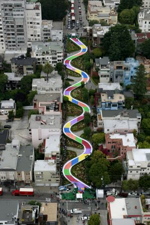 In this photo provided by Hasbro Inc., shown is the famous Lombard Street in San Francisco, after being transformed into a larger-than-life sized version of the Candy Land game complete with the iconic path to celebrate the game's 60th birthday, Wednesday, August 19, 2009. (AP Photo/Hasbro Inc., Darryl Bush)